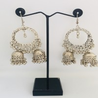 Bright Silver Finish Earrings With Small Bells