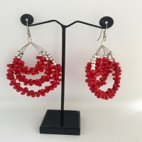 Bright Silver Finish Round Colorful Earrings