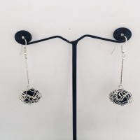 Daily Ware Silver and Black Earrings
