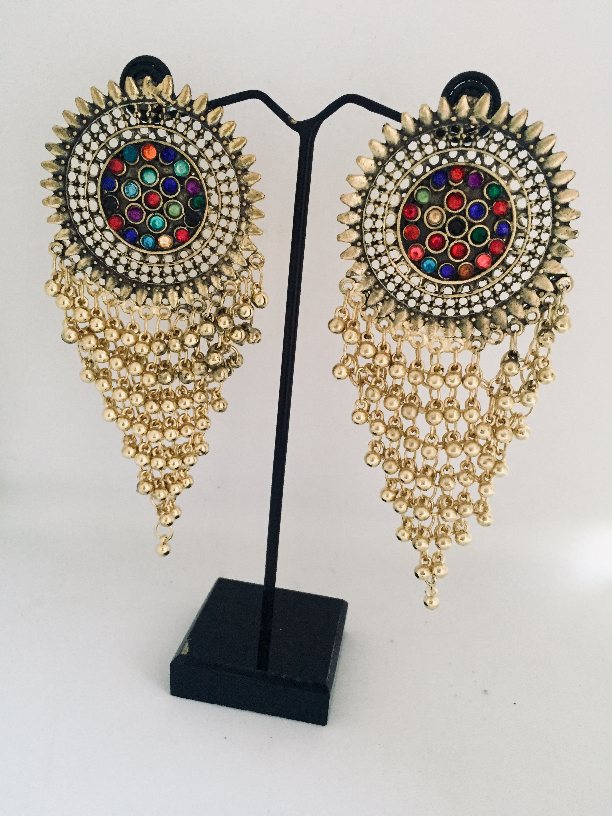 Golden and Black Multi-Color Party Wearing Earrings