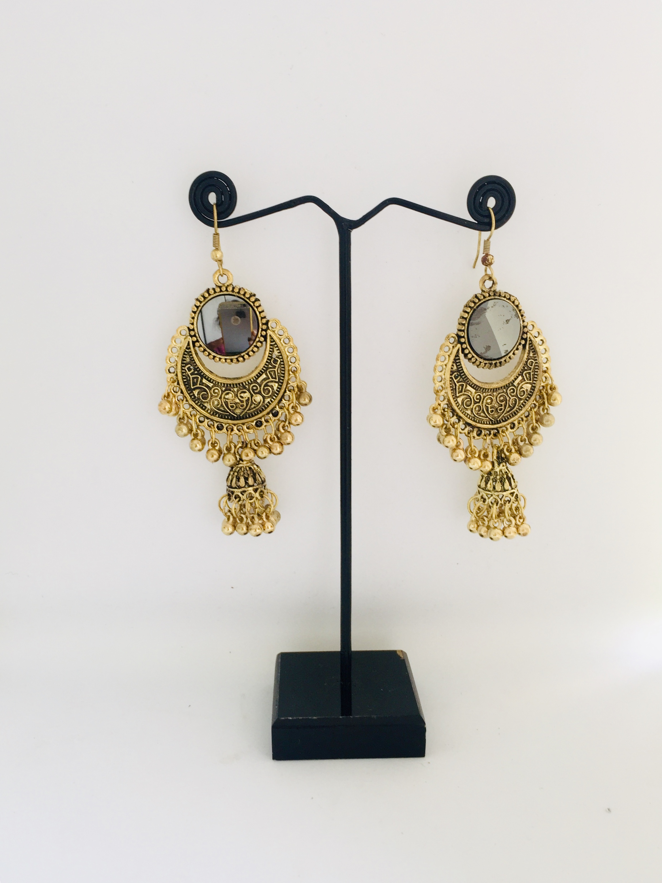 Golden / Silver Finish Earrings with Mirror Work and Forehead Tikka