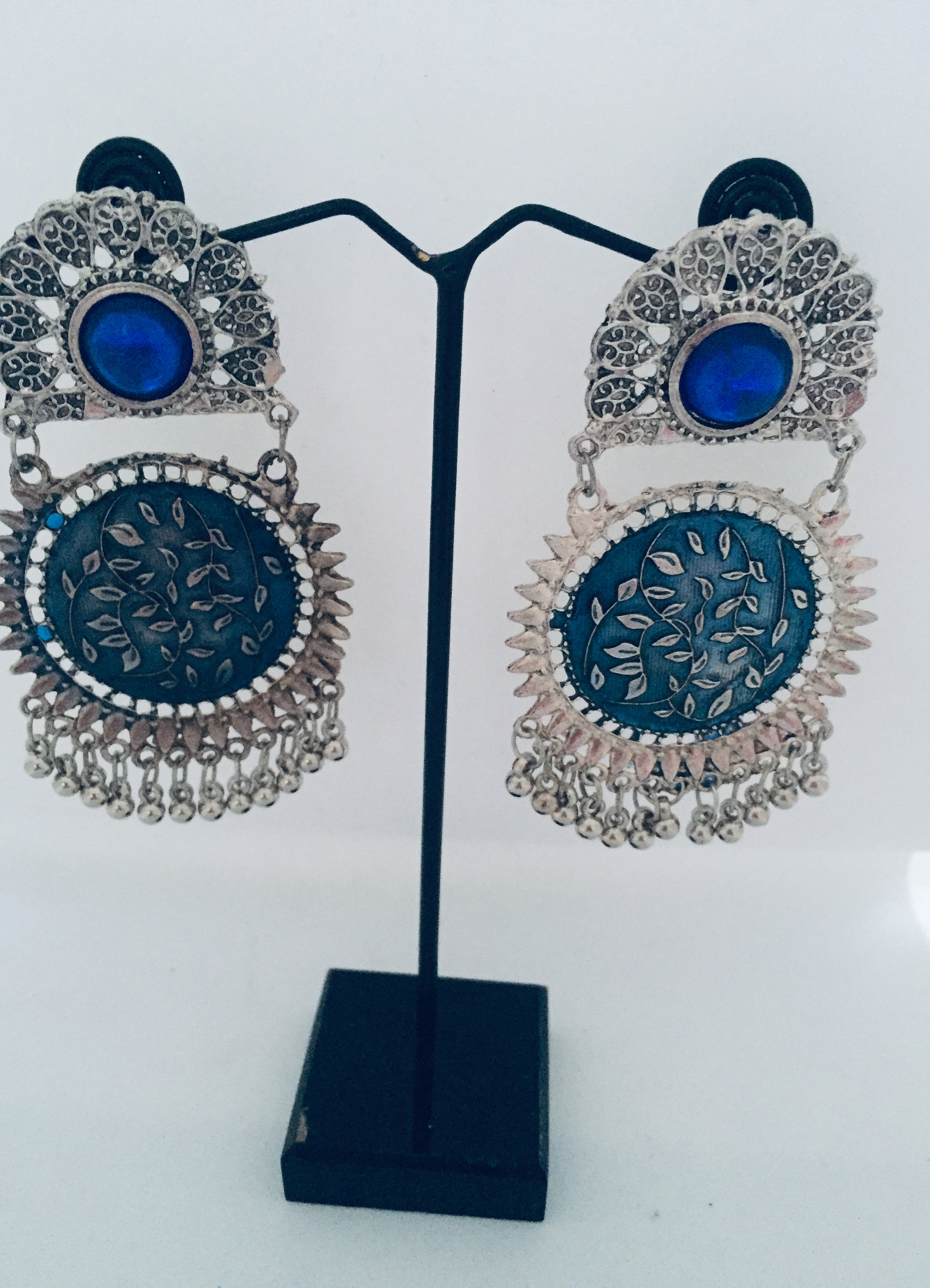 Round Two Piece Earrings with Stone Work